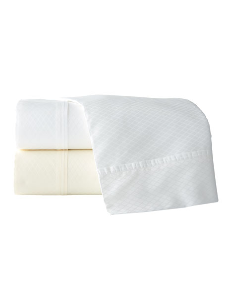 Two King 600 Thread Count Diamond Jacquard Sateen Pillowcases