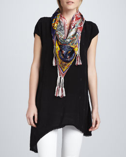 Johnny Was Collection Asymmetric V-Neck Tunic & Patchwork Silk Georgette Scarf, Women's