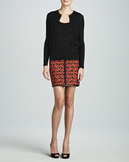 M Missoni Zigzag Crewneck Cardigan, Zigzag Tank & Mosaic Scuba Skirt
