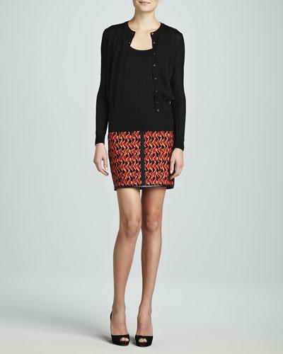 Zigzag Crewneck Cardigan, Zigzag Tank & Mosaic Scuba Skirt