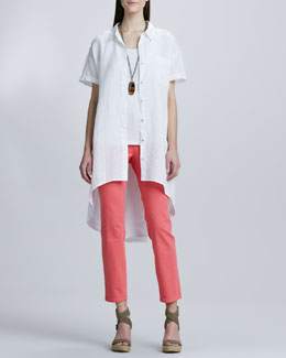 Eileen Fisher Handkerchief Linen Layer Dress, Organic Cotton Long Tank & Skinny Ankle Jeans, Women's