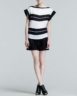 ALC Chavelli Striped Silk Top & Alia Drawstring-Waist Shorts
