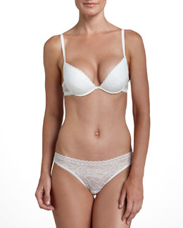 La Perla Rosa Floral-Lace Push-Up Plunge Bra & Brazilian Briefs