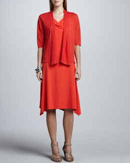 Eileen Fisher Cowl-Neck Jersey Dress & Cropped Lightweight Linen Cardigan, Women's