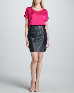Elie Tahari Ilana Charmeuse Blouse & Aurora Leather Perforated-Center Skirt