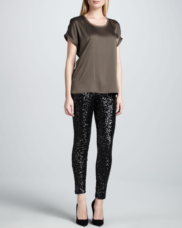 Ilana Loose Satin Blouse & Roxanna Sequined Skinny Pants