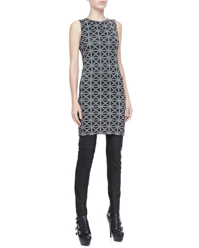 Gareth Pugh Sleeveless Printed Tunic and Waxed Leather Pants