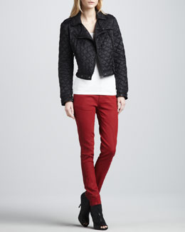 Burberry Brit Cropped Quilted Moto Jacket & Moto-Panel Skinny Jeans
