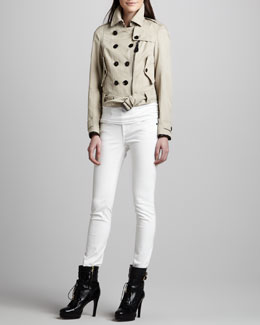 Burberry Brit Cropped Zip Trenchcoat & Skinny Back-Seam Jeans