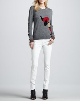 Burberry Brit Dog Long-Sleeve Sweater & Skinny Back-Seam Jeans