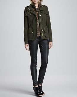 Burberry Brit 3-in-1 Puffer Vest Jacket & Skinny Leather Leggings