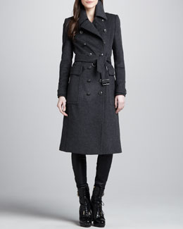 Burberry Brit Extra-Long Double Breasted Coat & Skinny Leather Leggings