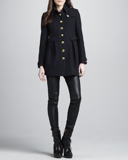 Burberry Brit Golden Button Wool-Blend Coat & Skinny Leather Leggings