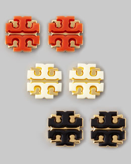 Tory Burch Enamel Double-T Stud Earrings,