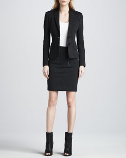 Burberry Brit Leather-Detail Blazer & Pencil Skirt