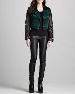 Burberry Brit Knit Jacket with Leather Sleeves & Skinny Leather Leggings