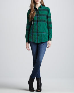 Burberry Brit Button-Down Woven Check Shirt & Faded Skinny Jeans