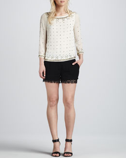 Diane von Furstenberg Sylvia Hot Fix Check Top & Yara Lace Shorts