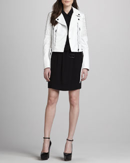 Burberry Brit Studded Biker Jacket & Off-Center Zip Moto Dress