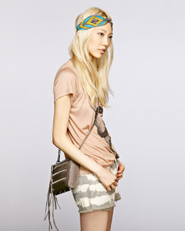 Haute Hippie Embroidered Silk Turban, Snake Graphic Tee & Tie-Dye Cutoff Shorts