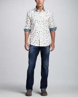 Robert Graham Chitwood Long-Sleeve Sport Shirt & Dark Wash Jeans