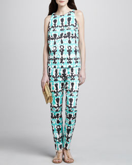 Milly Nina Printed Sleeveless Top & Maddy Printed Straight-Leg Pants