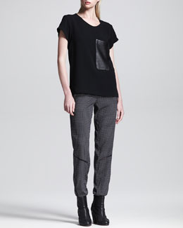 Rag & Bone Leather-Pocket Tee and Gina Printed Drawstring Pants