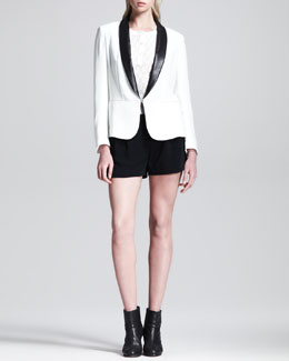 Rag & Bone Sliver Leather-Lapel Tuxedo Blazer, Jacquard Knit Henley & Charlie Split-Side Shorts