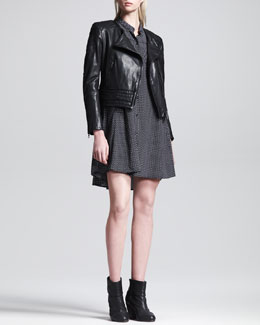 Rag & Bone Clare Leather Motorcycle Jacket and Aberdeen Printed Trapeze Dress