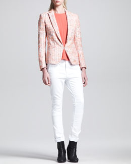 Rag & Bone Sliver Tweed Blazer and Adeline High-Low Top