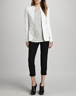 Theory Tamler Open Leather Blazer, Maas Striped Knit Top & Scyler Cropped Skinny Pants