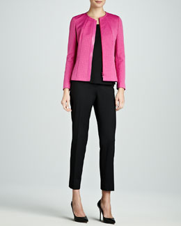 Lafayette 148 New York Marisol Combo Leather-Trim Jacket, Silk Bias Tank & Astor Slim-Leg Cropped Pants