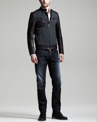 Dsquared2 Herringbone & Leather Bomber Jacket, Dean & Dan Stretch-Poplin Shirt & Black Denim Jeans