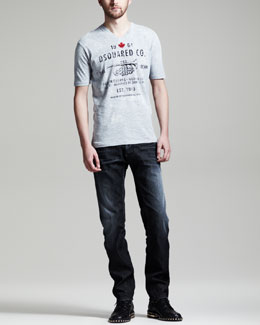 DSquared2 Dean Fit Short-Sleeve Tee & Black Denim Jeans