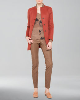 Akris Long Cashmere Jacket, Camel-Print Shirt & Seamed Leather Pants