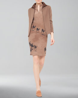 Akris Reversible Cashmere Zip Jacket and Camel-Print Zip Shift Dress