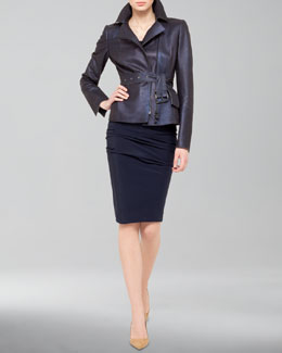 Akris Shimmer Suede Moto Jacket, Ruched Scoop-Neck Top and Ruched Combo Pencil Skirt