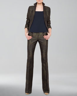 Akris Paisley Jacquard Jacket, Scoop-Neck Tank & Boot-Cut Paisley Jeans