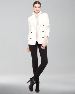Akris punto 3/4-Sleeve Double-Breasted Blazer & Mandarin Collar Silk Blouse