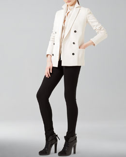 Akris punto Double-Breasted Blazer, Mandarin-Collar Blouse & Stretch Skinny Pants