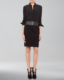 Akris punto Silk Ribbon-Shoulder Blouse & Faux-Leather Waistband Pencil Skirt