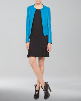 Akris punto Belt-Back Leather Zip Jacket and Dropped Godet Skirt