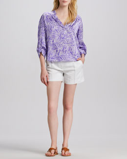 Milly Camilla Tab-Sleeve Blouse & Side-Pocket Silk Shorts