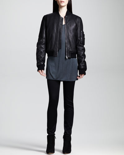 T by Alexander Wang Reversible Pebbled Bomber Jacket, Rolled-Neck Jersey Tee & High-Waisted Stretch Jeans