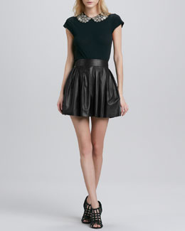 Alice + Olivia Marilla Bead-Collar Top & Pleated Leather Skirt