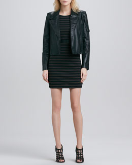 Alice + Olivia Vivien Leather Motorcycle Jacket & Bendey Belted-Waist Dress