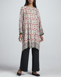 eskandar Floral Round-Neck Long Shirt & Flared Trousers