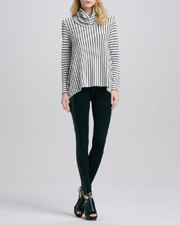 Alice + Olivia Striped Draped Turtleneck & Ponte/Leather Combo Leggings