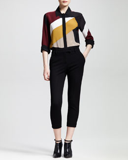 Fendi Mondrian Patchwork Blouse and Cropped Skinny Trousers