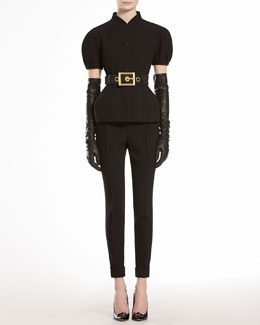 GUCCI Puff Sleeve Jacket & Wool Flat Front Pants